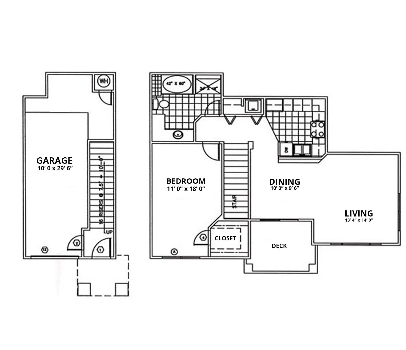1 Bedroom, 1 Bath, 1 Car Garage